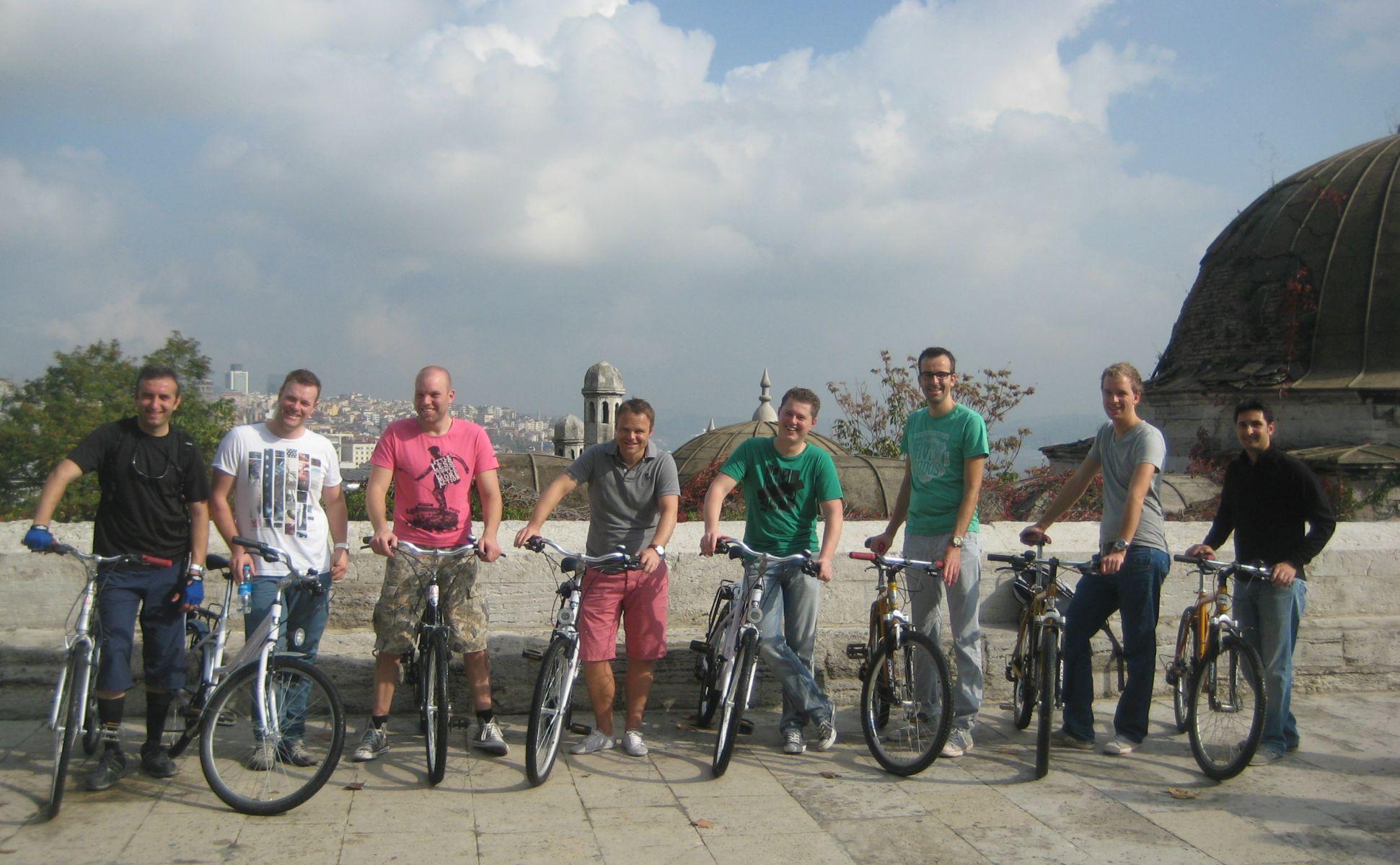Group photo at Suleymaniye Mosque Old City Bike tour