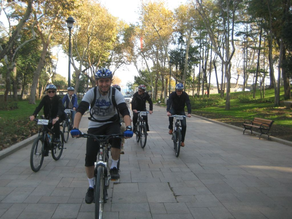 Riding in Gulhane Park - Old City Bike Tour